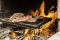 Meat on barbecue some meats fire cooking Stock Photos