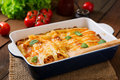 Meat cannelloni sauce bechamel. Royalty Free Stock Photo