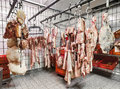 Meat in a cold storage house Royalty Free Stock Photo