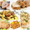 Meat collage cooked and poultry Royalty Free Stock Photos