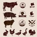 Meat cuts, butcher retro emblems and labels set