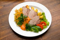 Meat dish with vegetables Stock Photo