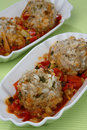 Meat dumplings with rice in tomato sauce Stock Photography