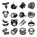 Meat flat icons black set of about Royalty Free Stock Photos
