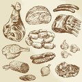 Meat hand drawn collection of Royalty Free Stock Image