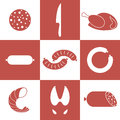 Meat icon set isolated objects on white background vector illustration eps Royalty Free Stock Photos