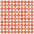 100 meat icons hexagon orange