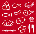 Meat icons set Royalty Free Stock Photography