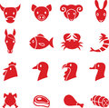 Meat icons Royalty Free Stock Photo