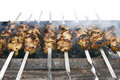 Meat kababs on grill Stock Photography