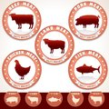 Meat labels pork beef chicken lamb tuna retro label with illustrations of and vector set Stock Image