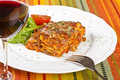 Meat Lasagna and Red Wine #2 Royalty Free Stock Photography