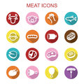 Meat long shadow icons Royalty Free Stock Photo