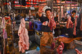 Meat market in chengdu china sichuan province Royalty Free Stock Photo