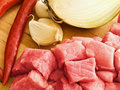 Meat,pepper,garlic and onion Royalty Free Stock Photography