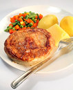 Meat pie, potato, vegetables   Royalty Free Stock Photos