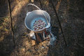 Meat in the pot on the fire Royalty Free Stock Photo