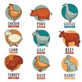 Meat and poultry flat animal and birds vector icons for butcher shop or store Royalty Free Stock Photo