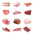 Meat and poultry icons Stock Images
