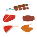Meat products set of cartoon delicious barbecue kebab variety delicious gourmet meal and animal assortment slice lamb