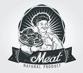 Meat products vector logo design template. Cooking Royalty Free Stock Photo