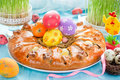 Meat quail egg ring for Easter dinner , colorful Easter composition Royalty Free Stock Photo