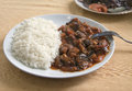 Meat with rice on a plate in turkish cafe Royalty Free Stock Photos