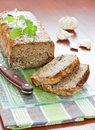 Meat roll with basil leaves Stock Images