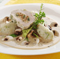 Meat roll with potato dumplings and mushroom sa Royalty Free Stock Photo