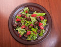 Meat salad with vegetable and sesame Stock Photos