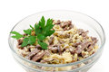 Meat salad on white background Stock Photo