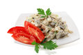 Meat salad on white background Stock Images