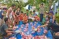 Meat sale in Philippine village Stock Photo