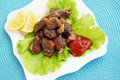 Meat sauce spicy fried with fresh lettuce leaves Royalty Free Stock Photo