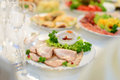 Meat and saucer plate with on table Stock Image
