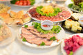 Meat with saucer plate and on table Stock Photo