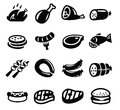Meat and sausage icons vector black icon set on white Stock Photography