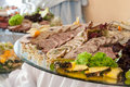 Meat slices on wedding table appetizing of a decorated Stock Photography
