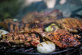 Meat steak on grill with vegetables Royalty Free Stock Images