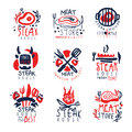 Meat store, steak house premium quality logo template set, colorful hand drawn vector Illustrations Royalty Free Stock Photo