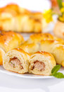 Meat stuffed crescent roll close up of on breakfast table Stock Photography