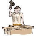 Meat tenderizing an image of a cook with a mallet Royalty Free Stock Photography