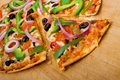 Meat and vegetable pizza Royalty Free Stock Photography