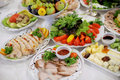Meat vegetables festive table Stock Photography