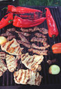 Meat and vegetables on grill mm film scan Royalty Free Stock Photos
