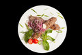 Meat and vegetables an image of a plate with Royalty Free Stock Images