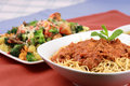 Meat and veggies pasta Royalty Free Stock Photos