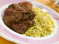 Meat Vindaloo with Pilau Rice Stock Photos