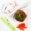 Meatball appetizer top view of a plate Royalty Free Stock Image