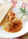 Meatball dish of with bead Stock Images